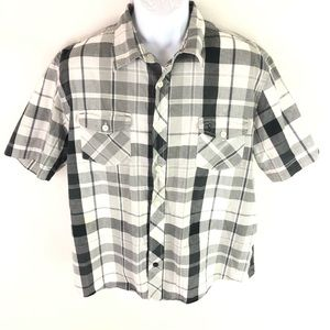 OP Men's Button Front Shirt Black White XL